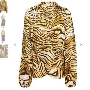 Ronny Kobo Wrap-effect gathered tiger twill blouse
